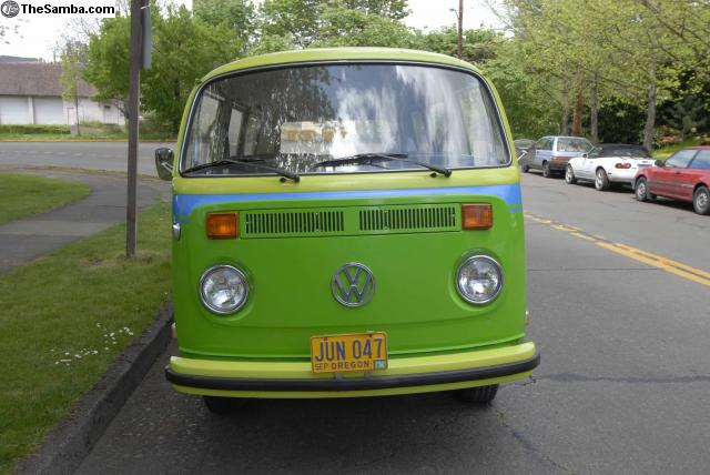 1973 VW Bus - Factory Lime Green Apple Green two tone with Blue Stripe - Wild Westerner!