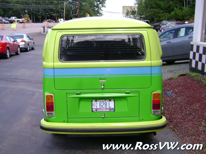 wild westerner registry  vw bus factory lime green apple green  tone  blue stripe